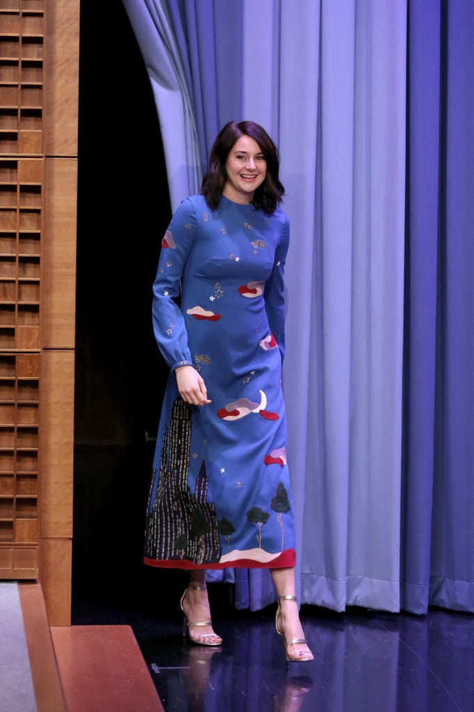 Shailene Woodley is out on the press trail promoting the latest film in the Divergent series, The Divergent Series: Allegiant. And you know what that means: so many great looks. Before hitting the red carpet at the film's New York City premiere in an Elie Saab jumpsuit, Shailene swung by The Tonight Show Starring Jimmy Fallon to chat about reprising her role as Tris Prior — and, of course, to play some Pictionary.  Shailene wasn't exactly the best at the game, but she did come out a winner in the fashion department. Working with stylist Ilaria Urbinati, Shailene selected a long-sleeved Valentino skyline dress, paired with high-heeled Tamara Mellon shoes. It was a perfect pick for the start of a busy day in the Big Apple.