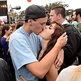 A couple wasn't shy to show some PDA at Outside Lands in San Francisco, CA.