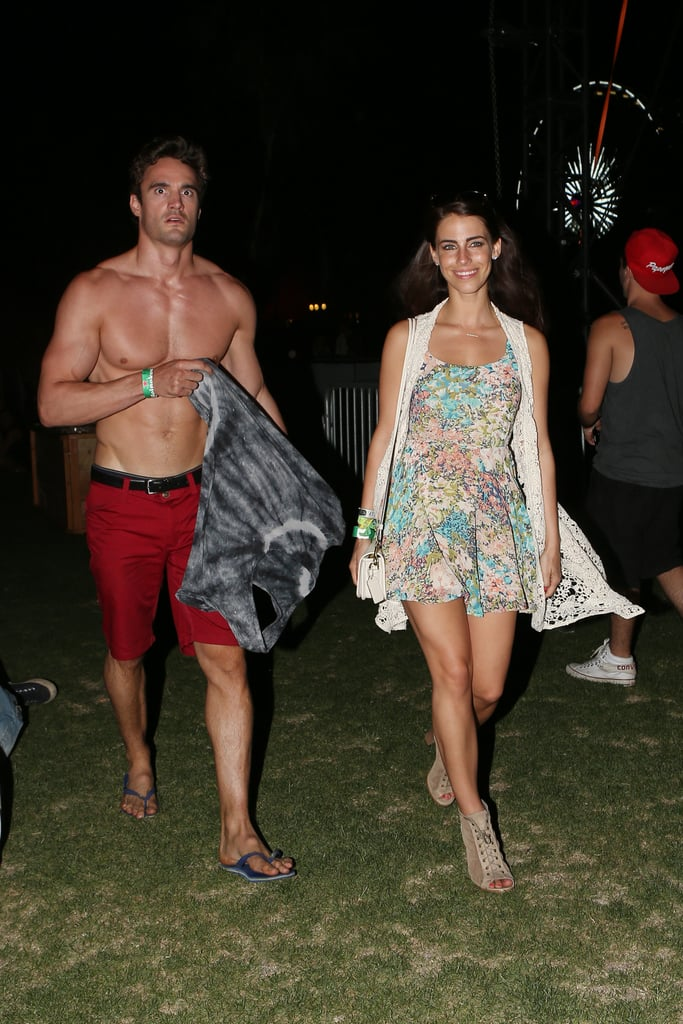 A shirtless Thom Evans hung out with Jessica Lowndes.