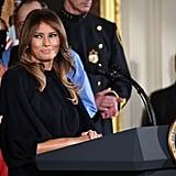 Melania Trump Black Dress With Big Sleeves