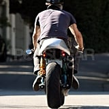 Ryan Reynolds Stops by Sandra Bullock's House on His Bike