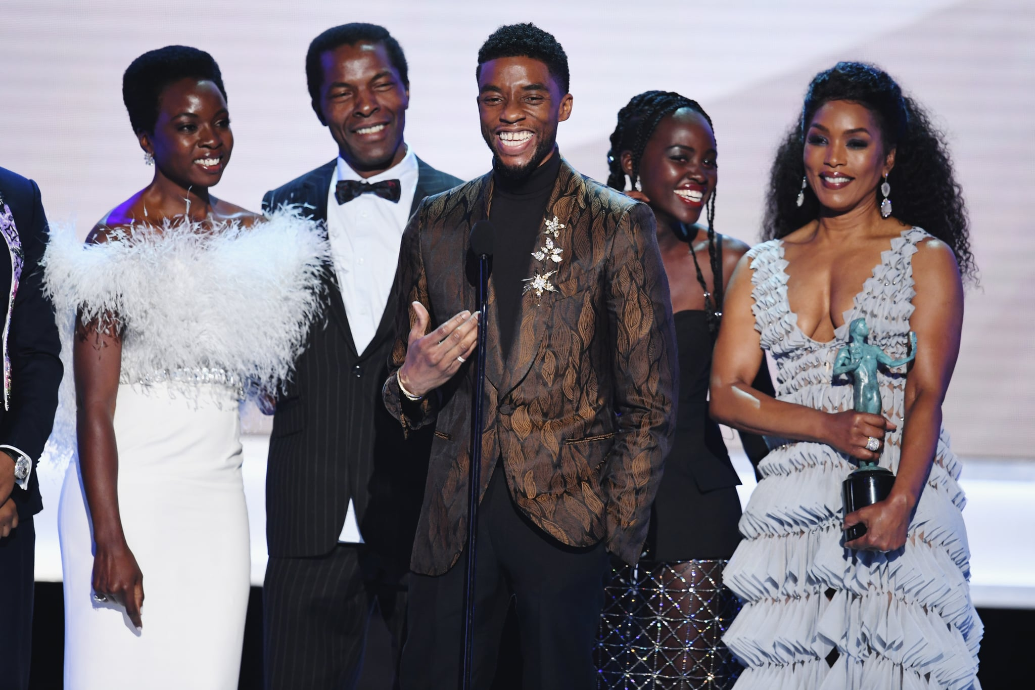 LOS ANGELES, CA - JANUARY 27:  The cast of ?Black Panther? accepts Outstanding Performance by a Cast in a Motion Picture onstage during the 25th Annual Screen Actors Guild Awards at The Shrine Auditorium on January 27, 2019 in Los Angeles, California. 480493  (Photo by Kevin Winter/Getty Images for Turner)