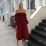 The Drop Bordeaux Off-Shoulder Midi Dress