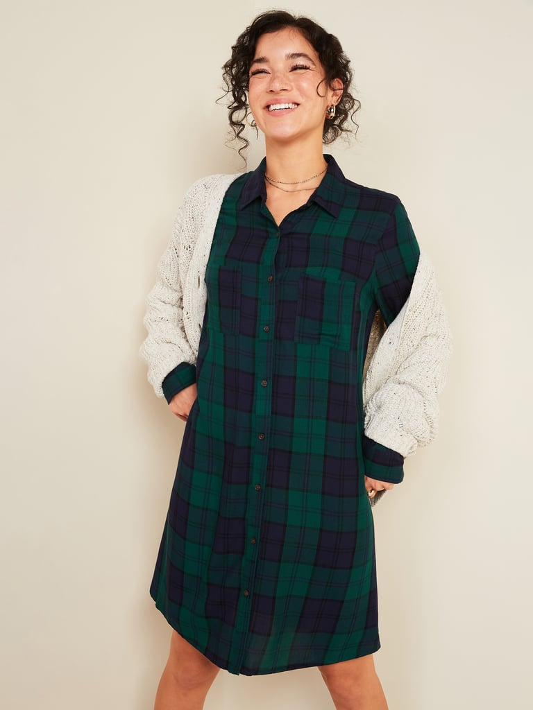 Plaid Lightweight Flannel Swing Shirt Dress