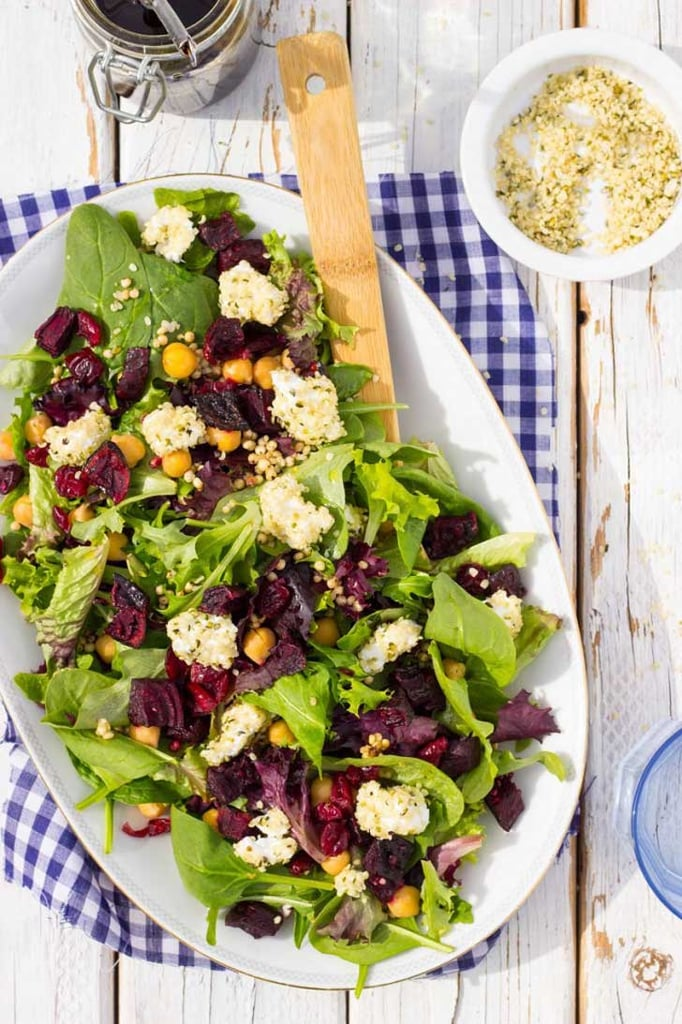 Roasted Beet, Chickpea, Goat Cheese, and Sorghum Salad
