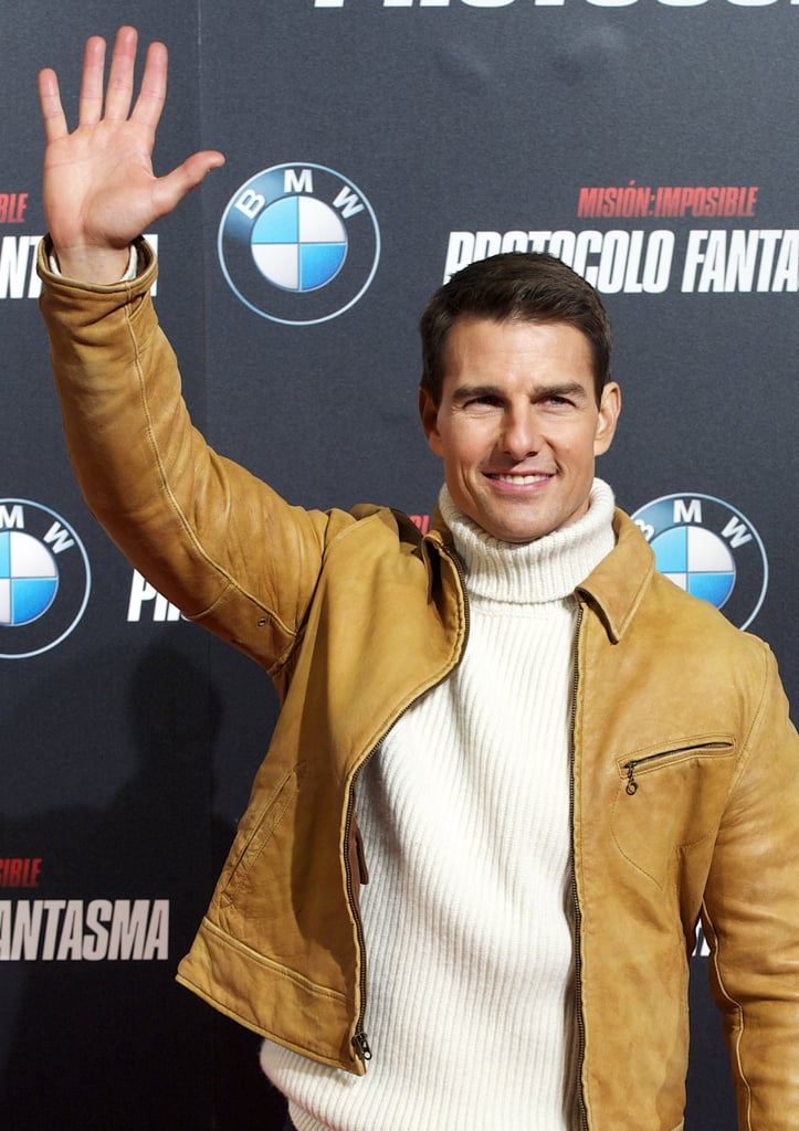 Tom Cruise was all smiles before the screening.