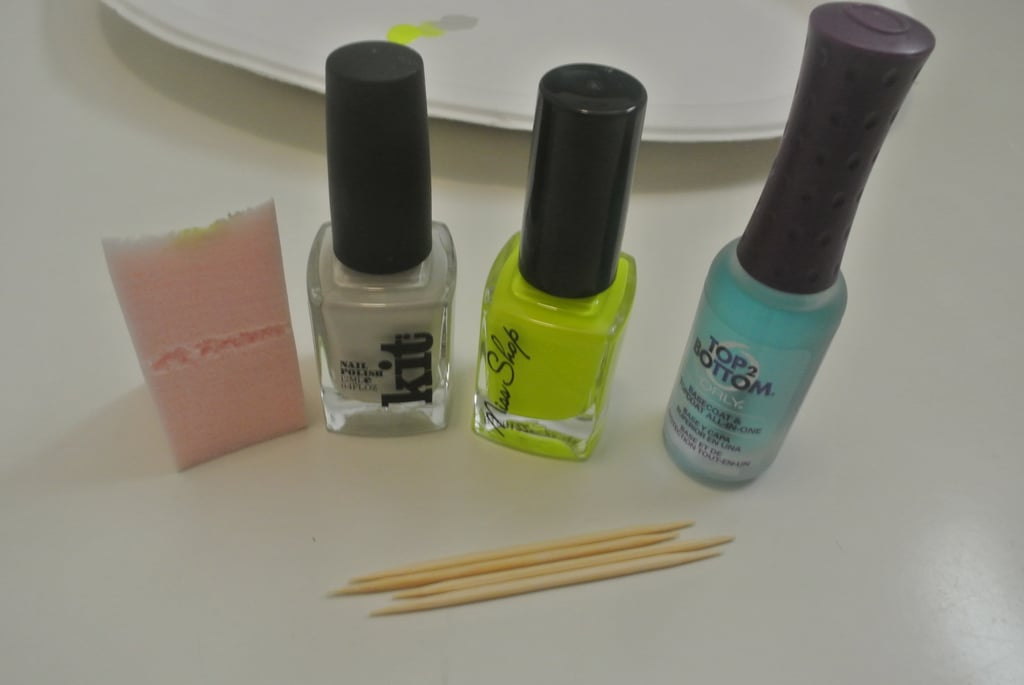 Everything you'll need:  Base coat Beige, stone or light grey nail polish Neon nail polish  Toothpick  Makeup sponge Top coat