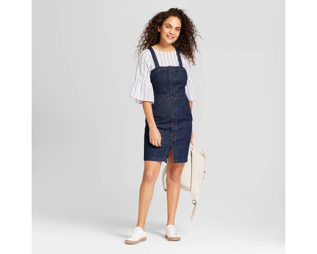 6137fb5f9aa Women s Button Front Apron Denim Dress