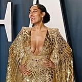 Tracee Ellis Ross Gold Dress Vanity Fair Oscars Party 2020