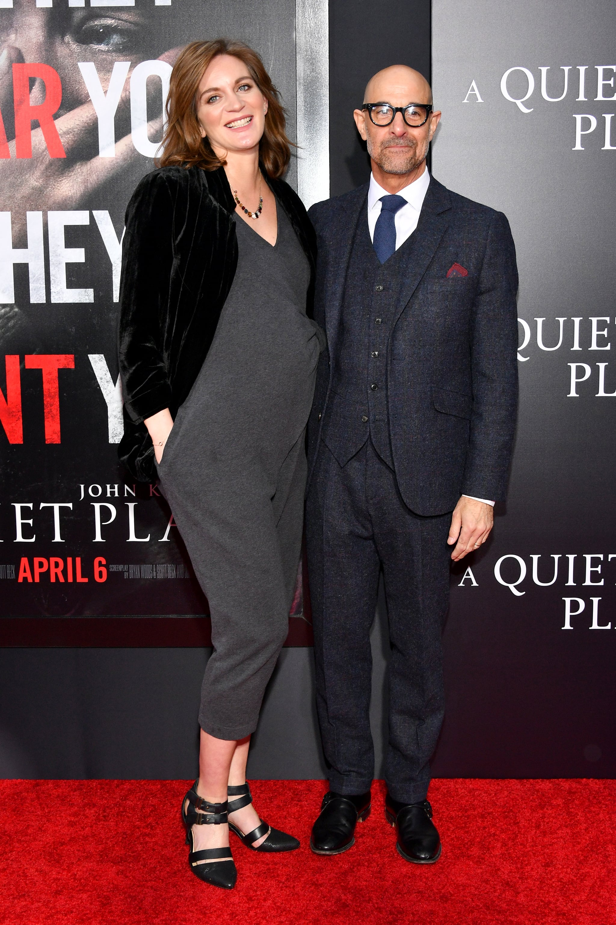 NEW YORK, NY - APRIL 02: Felicity Blunt and Stanley Tucci attends the