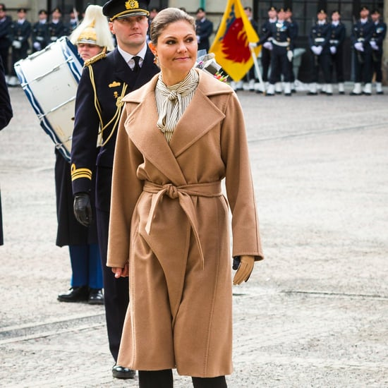 Princess Victoria of Sweden Wearing Beige Coat