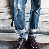 Broken-in boyfriend jeans and burgundy oxfords make a great team.