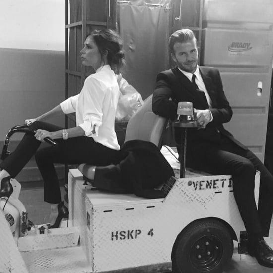 Victoria and David Beckham Wearing Matching Suits
