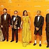 Pictured: Florence Kasumba, Seth Rogen, Elton John, Beyoncé, Pharrell Williams, and Tim Rice at The Lion King premiere in London.