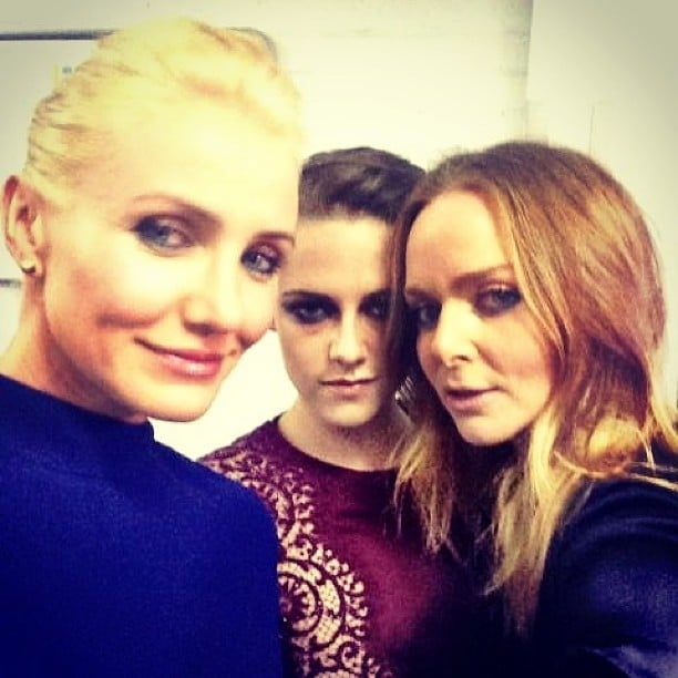 Cameron Diaz, Kristen Stewart, and Stella McCartney squeezed in for a selfie. Source: Instagram user stellamccartney