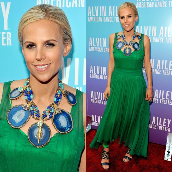 Tory Burch Style: Green Dress and Blue Necklace