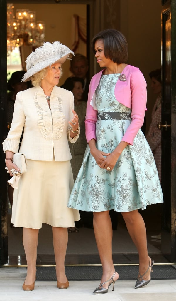 In May 2011, First Lady Michelle Obama chatted with Camilla, Duchess of Cornwall, as they left London's Winfield House.