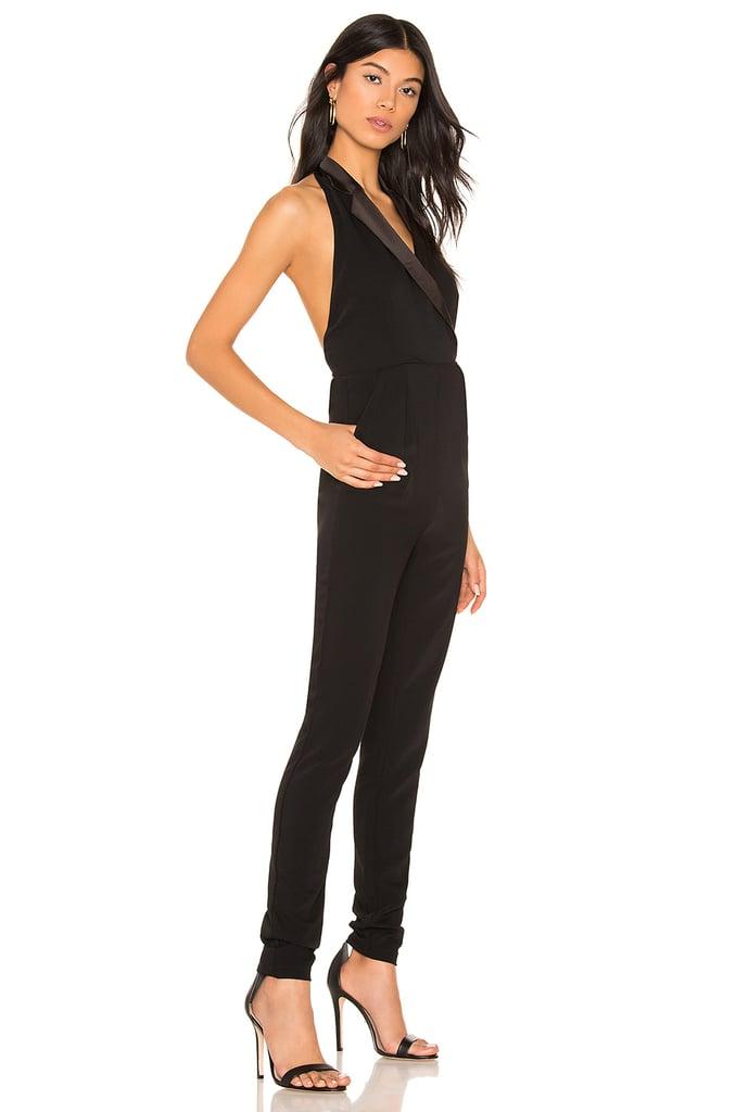 By the Way. Melanie Halter Tuxedo Jumpsuit in Black