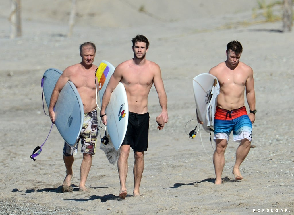 In January, it was a shirtless convention for Liam Hemsworth and his family in Costa Rica.
