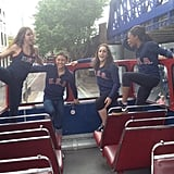 The women's gymnastics squad took a tour of London by bus. Source: Instagram user mckaylamaroney