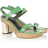Marni's ladylike heels come in the prettiest shade of mint.  Marni Glossed-Leather Platform Sandals ($705)
