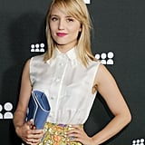 Dianna Agron showed off her newly dyed blond hair, along with a beautiful hot-pink lipstick hue.