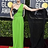 Charlize Theron's Lime Green Lingerie Inspired Dress at the 2020 Golden Globes