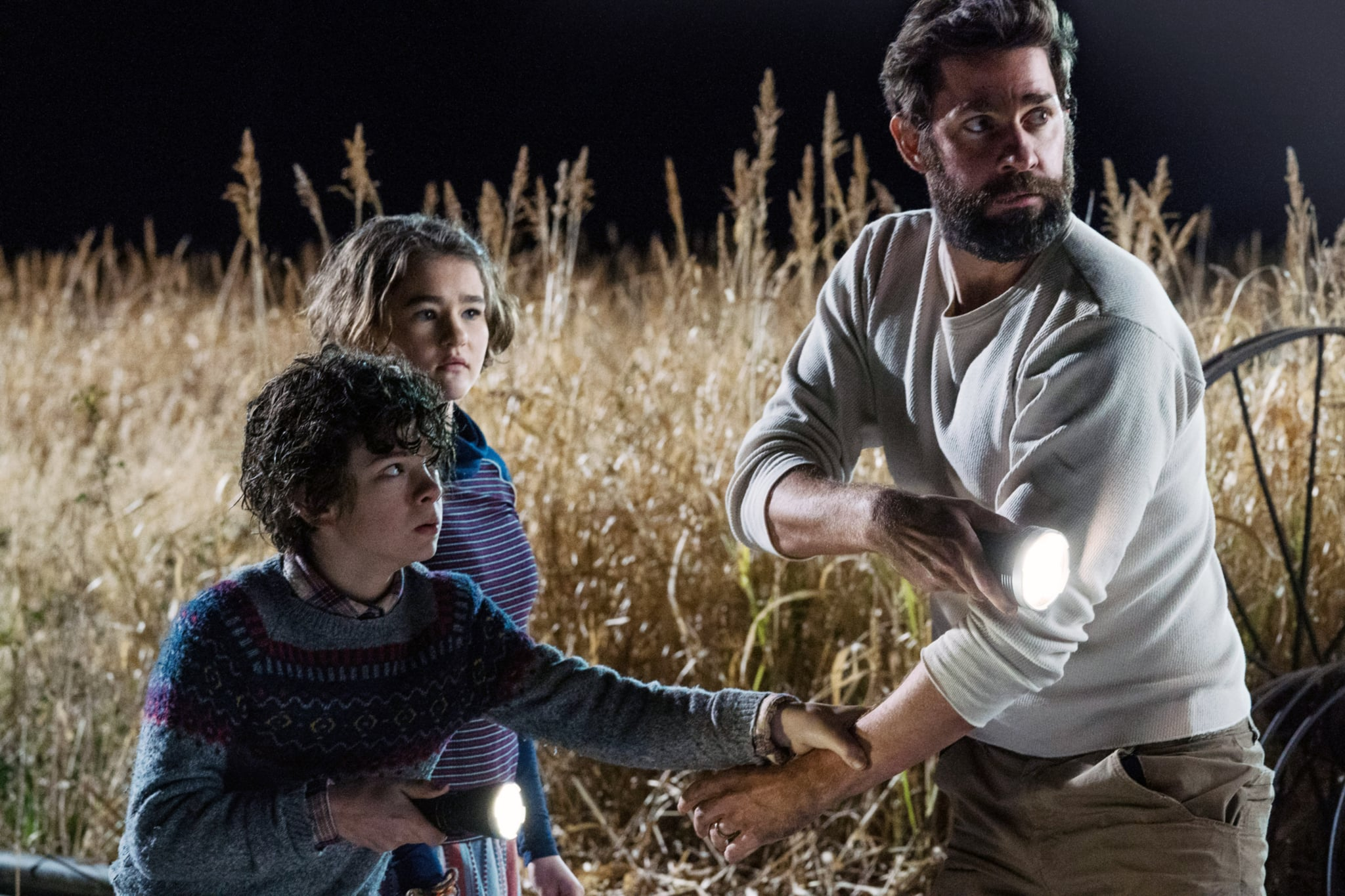 A QUIET PLACE, from left: Noah Jupe, Millicent Simmonds, John Krasinski, 2018. ph: Jonny Cournoyer /  Paramount /Courtesy Everett Collection