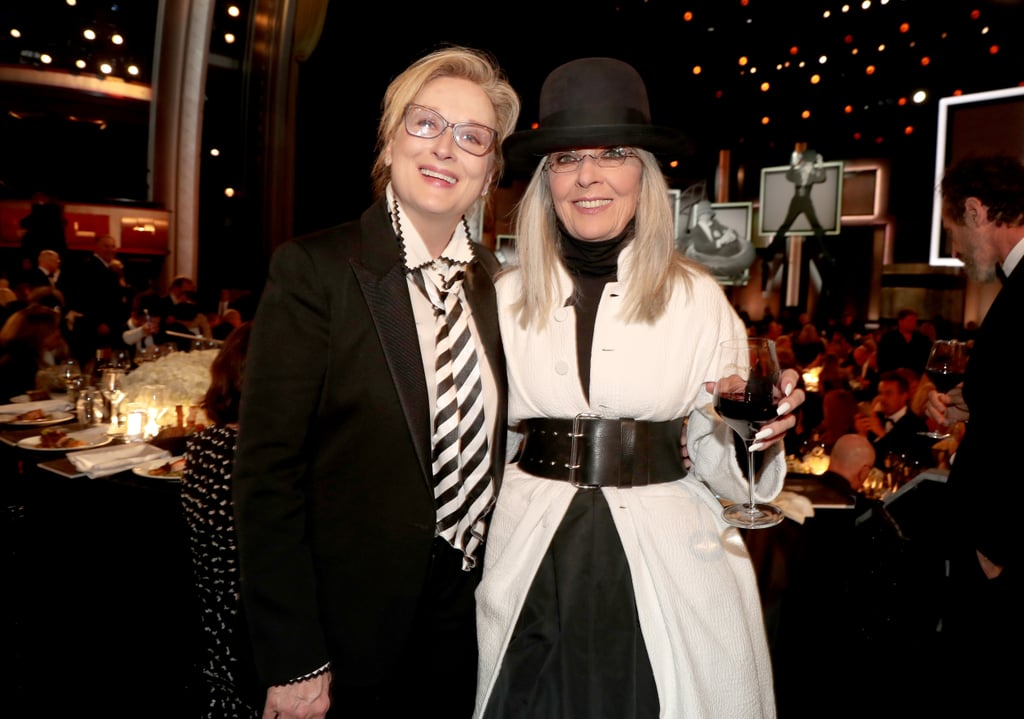 Diane Keaton was (finally) honored with a Life Achievement Award by the American Film Institute in LA on Thursday night. The big event brought out lots of her famous friends and costars, including Father of the Bride's Steve Martin and Martin Short, Emma Stone, Reese Witherspoon, and Meryl Streep, who took the stage to give a toast to her fellow legend. Meryl went the extra mile to celebrate her longtime friend by wearing a look inspired by one of Diane's most iconic characters, Annie Hall; from the blazer and tie to the oversize hat, Meryl really nailed her homage to the 1977 film, as well as Diane's own unique personal style. The 71-year-old star looked overjoyed to see Meryl's ensemble, and the two stuck together throughout the gala. Keep reading to see Meryl's tribute to Diane Keaton, then look back on the speech Diane made at Meryl's AFI ceremony in 2009.      Related:                                                                                                           Meryl Streep Helping Ryan Gosling With His Bow Tie Is a Moment Too Pure For This World