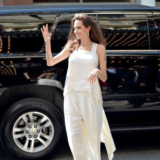 Angelina Jolie Wearing White Givenchy Set