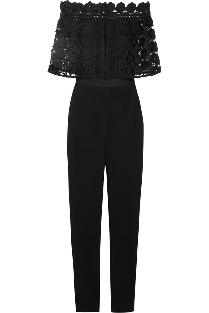 1f6db5f2b48f4 Self-portrait Serena guipure lace and crepe jumpsuit ($410) | What ...