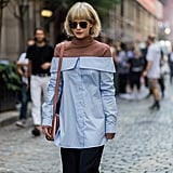 If You Have an Off-the-Shoulder Top, Wear It With a Thin Turtleneck