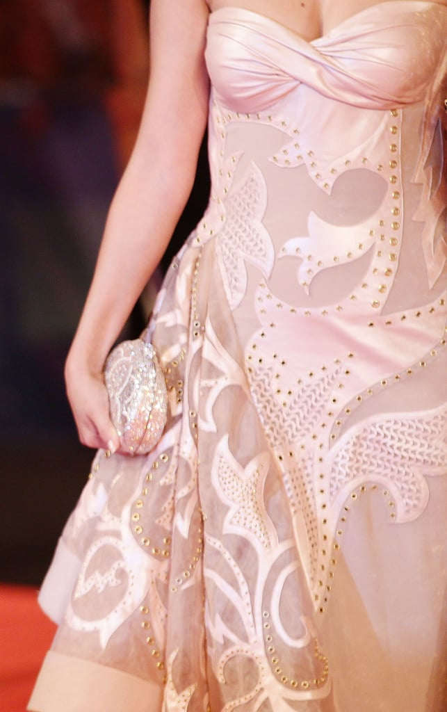 A closeup on the intricate, albeit edgier, detailing on Selena's nude Atelier Versace dress.
