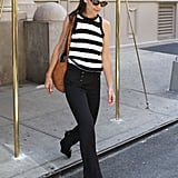 Katie Holmes wore black and white stripes in NYC.