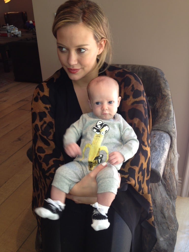 Hilary Duff posed with her two-month-old son Luca. Source: Twitter User HilaryDuff