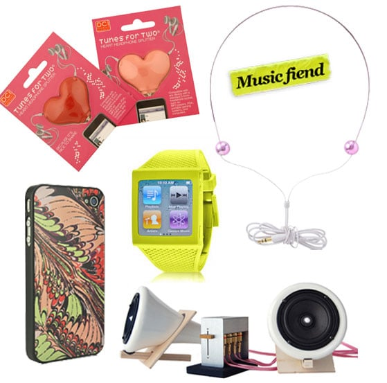 DCI Heart iPod Headphone Splitter ($12), Idea International Micro Gem Headphones ($32), Fantasia Air iPhone 4 Jacket by Rachel Pally ($55), HEX Watch Band for iPod Nano ($25), Joey Roth Ceramic Speaker System ($495)