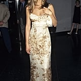 Then: Matchy-matchy looks were all the rage in the '90s, so when Jennifer promoted Friends, she chose silk designs that hit her right above the ankle and easy, complementing sandals.