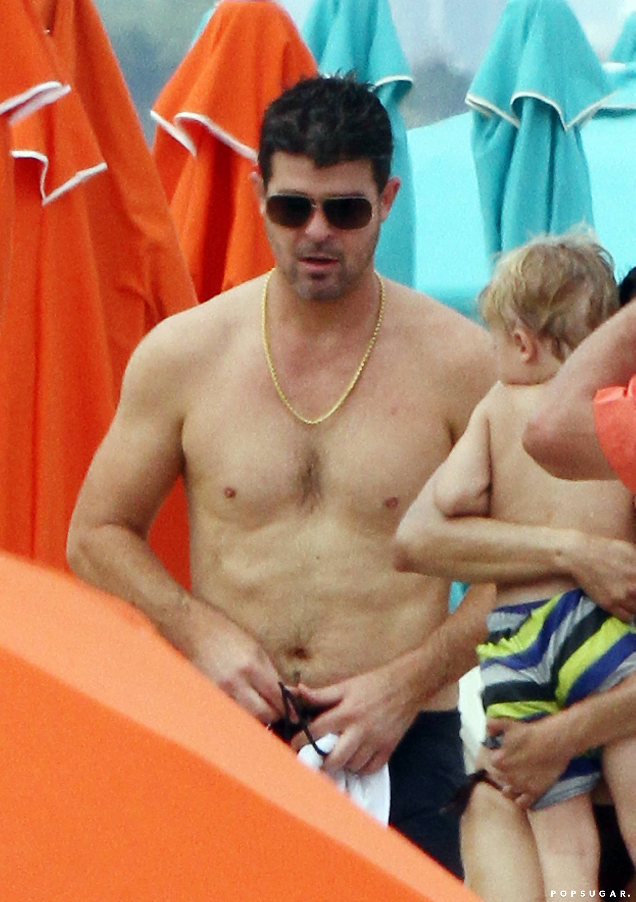 Robin Thicke stripped off his shirt in Florida in August.