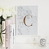 Monogram Marble Initial A4 Print