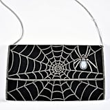 Black Suede and Silver Chain Spiderweb Envelope Clutch