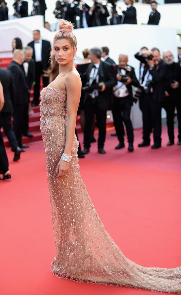 Hailey matched her pink updo to this gorgeous Roberto Cavalli evening gown in May at Cannes. She accessorised with Chopard jewels.