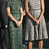 Agnese Wore a Lace Valentino Dress to Greet Michelle and Barack Obama