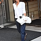 Victoria Beckham Went Comfy During NYFW, Pairing Her White Shirt With Loose Boyfriend Jeans