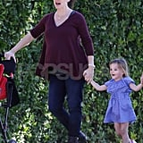 Seraphina Affleck was happy on New Year's Day with her mom, Jennifer Garner.