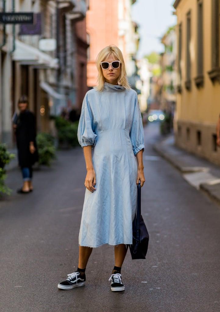 With a Simple Turtleneck Dress and Handbag