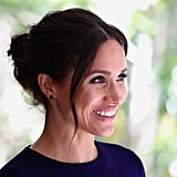 Meghan Markle's Messy Buns and Freckles Peeking Through