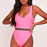 I Saw It First Neon Neon Pink Aztec Trim Swimsuit