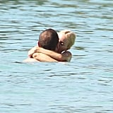 Naomi Watts and Liev Schreiber showed some PDA in the water in Barbados.