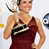 Julia Louis-Dreyfus held up her Emmy for her starring role in Veep.