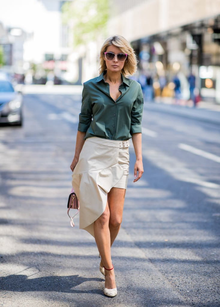 This asymmetrical skirt paired with a soft button-down is ideal for Summer.